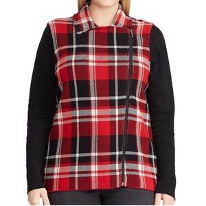 Chaps Plus Size 3x ZIP Front Plaid vest BNWT